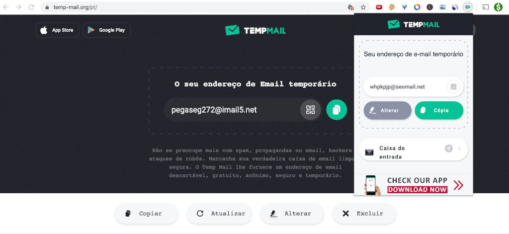 site do temp-mail.org correio temporário de email